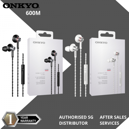 Onkyo E600MB In Ear Headphones with Microphone (Black/White)