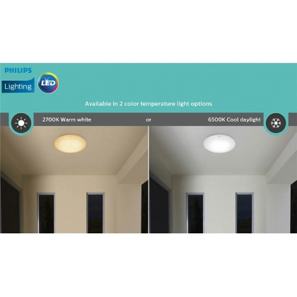 Philips 31817 LED Ceiling IP65 12W 2700K Warm White / 6500K Cool Daylight